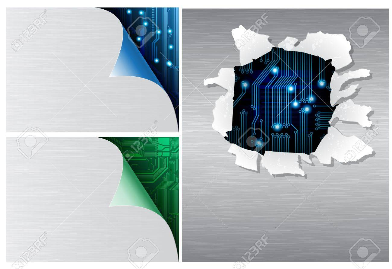 Technology theme templates with circuit pattern and brushed metal texture. Eps10 Stock Vector - 8920619