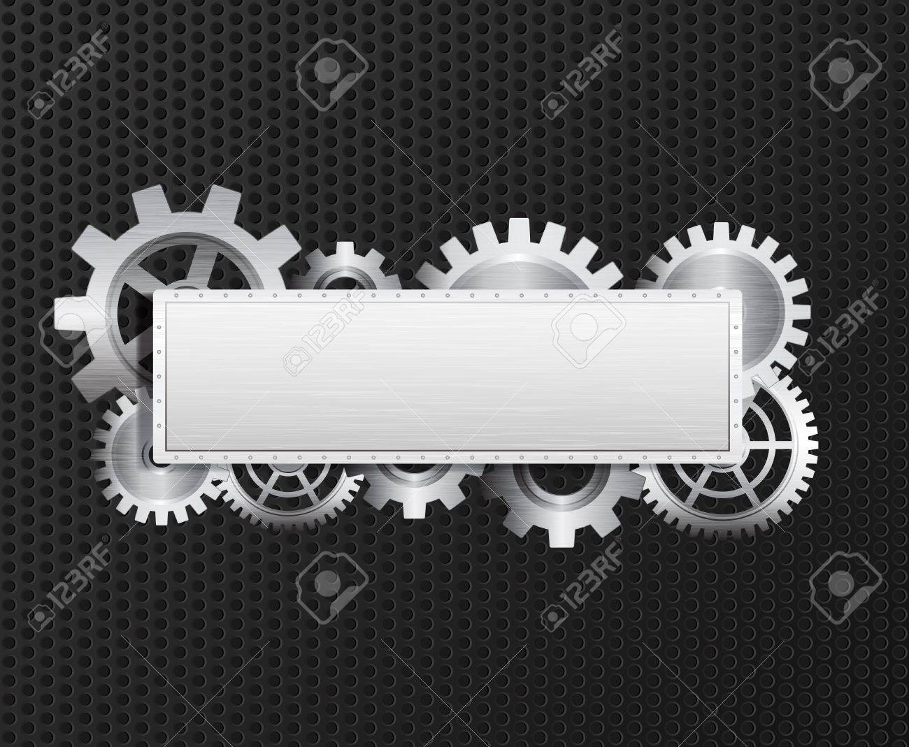 banner with gears, brushed metal texture, metal grid. Eps10 Stock Vector - 9239047