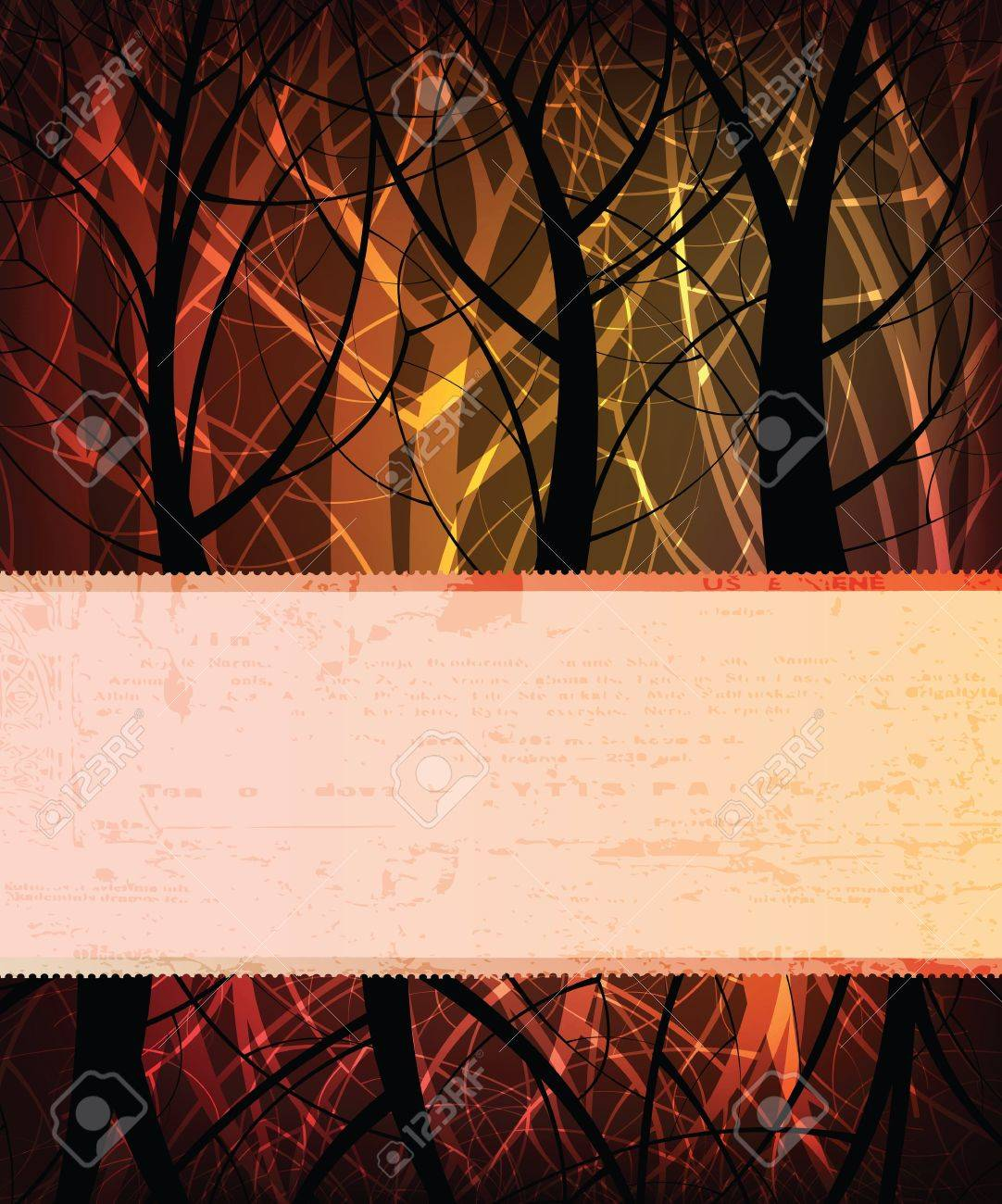 Stylized vector background with vintage grungy banner for text Stock Vector - 9883638