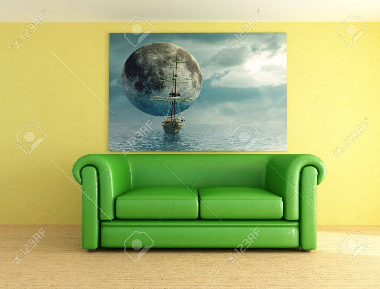 Green Leather Sofa And Picture -digital Artwork Stock Photo - 3432189