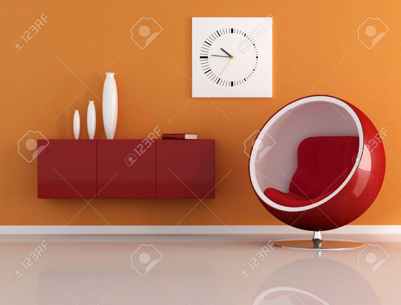 orange room with fashion armachair Stock Photo - 4007634