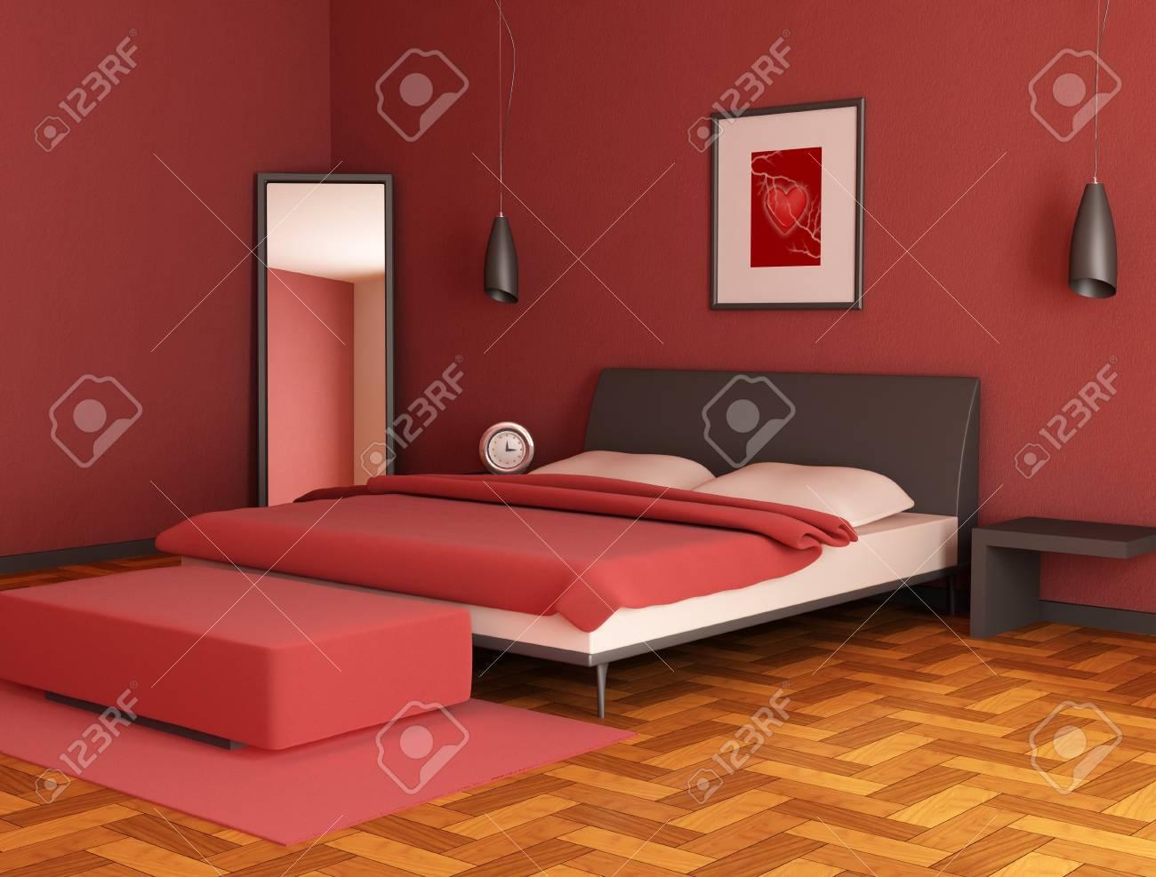 modern red bedroom Stock Photo - 4188214