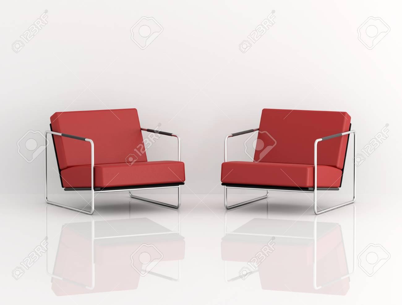 Moderne Fauteuil Wit.Twee Rode Moderne Fauteuil Geisoleerd Op Wit Digitaal Artwork