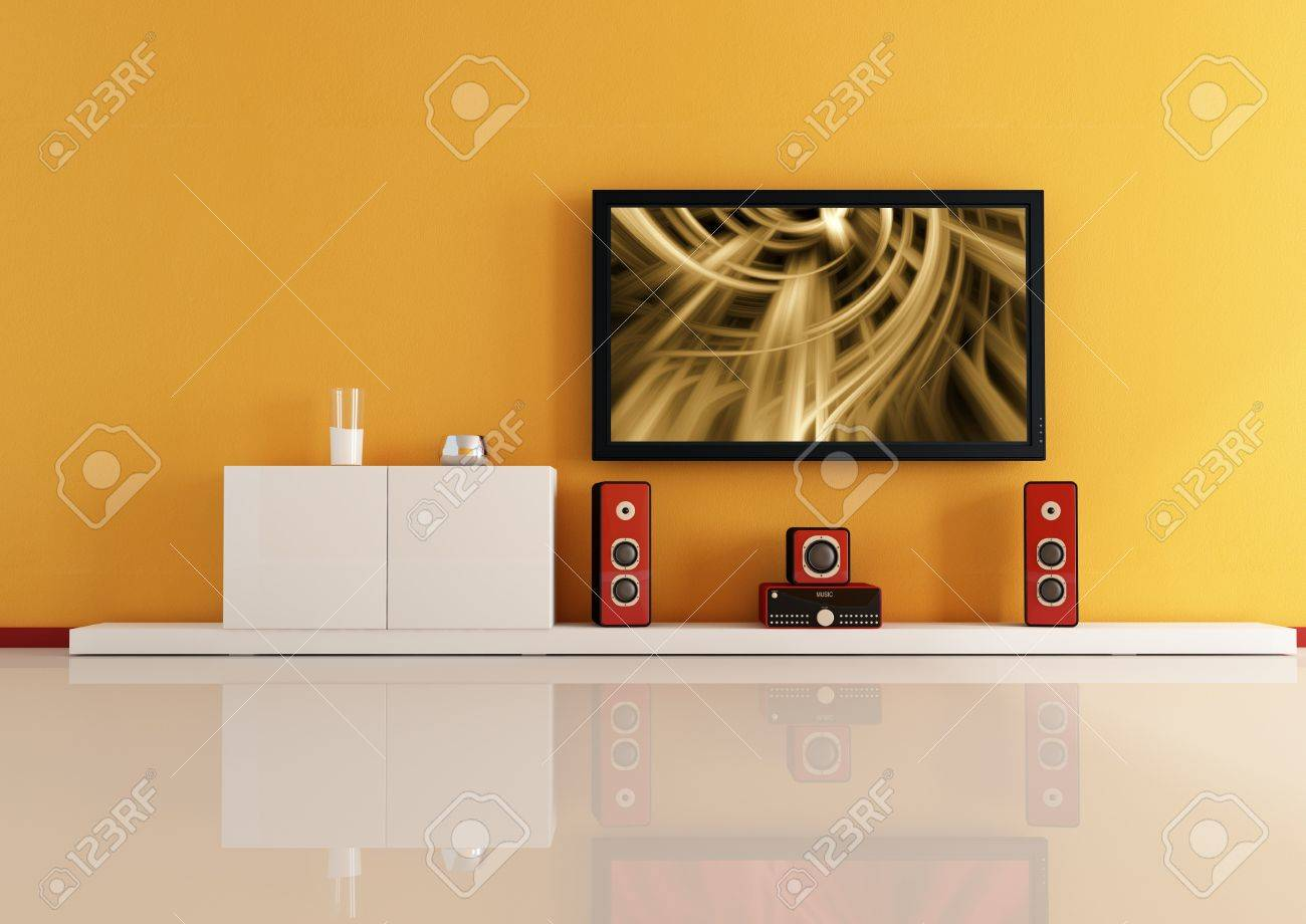 Modern Living Room White Home Theatre System