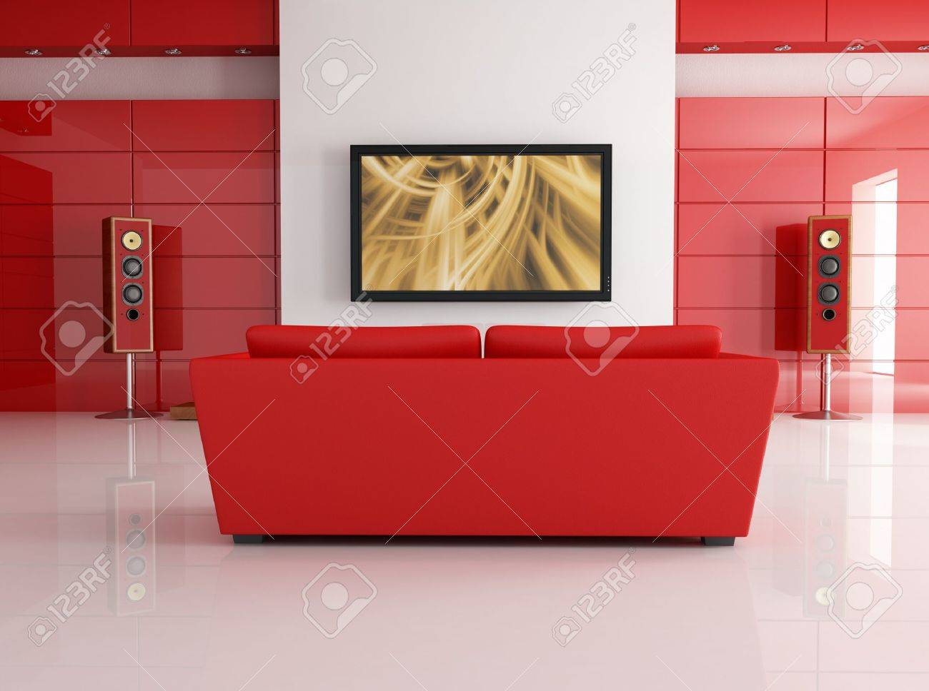 Red Leather Sofa In A Modern Living Room With Home Theatre System