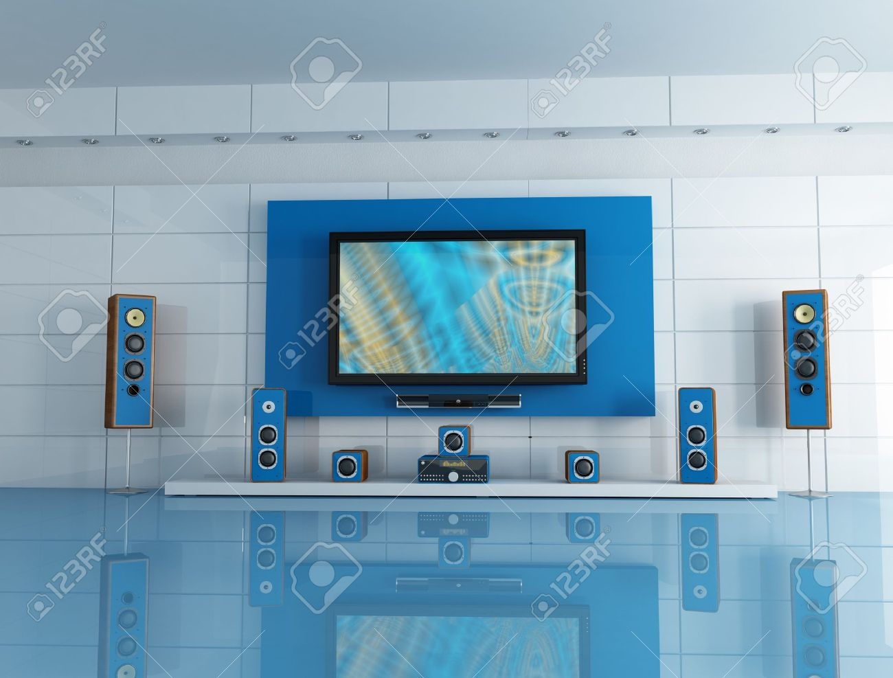 Empty Blue Living Room With Home Theatre System