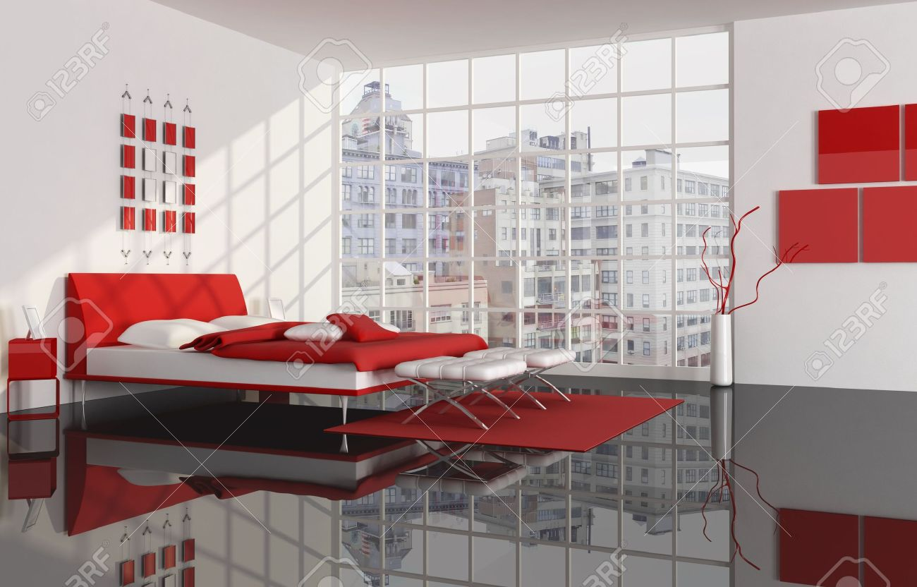 red white and black bedroom -rendering -the image on background..