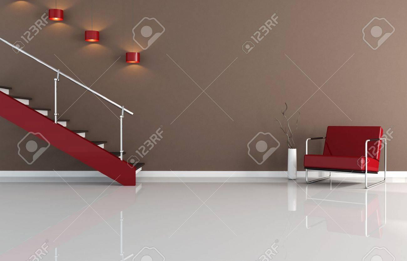 Bruin En Rood Interieur Met Trap - Stofuitdrukking Royalty-Vrije ...