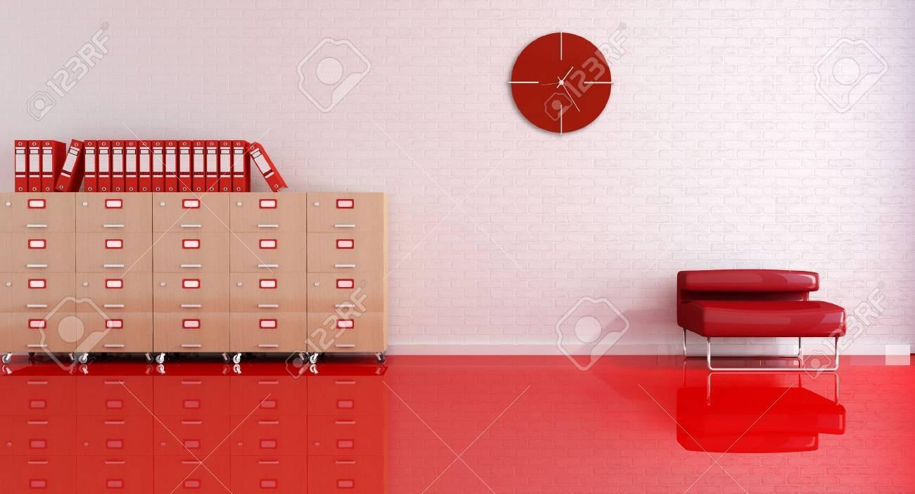 Chambre de bureau de réception avec fauteuil rouge et le fichier