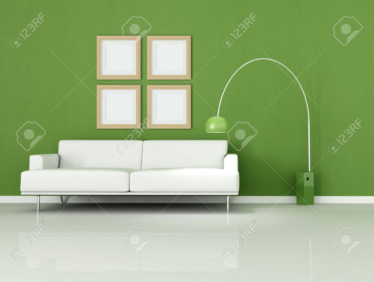 White Sofa In A Minimal Green Room Stock Photo   5131284