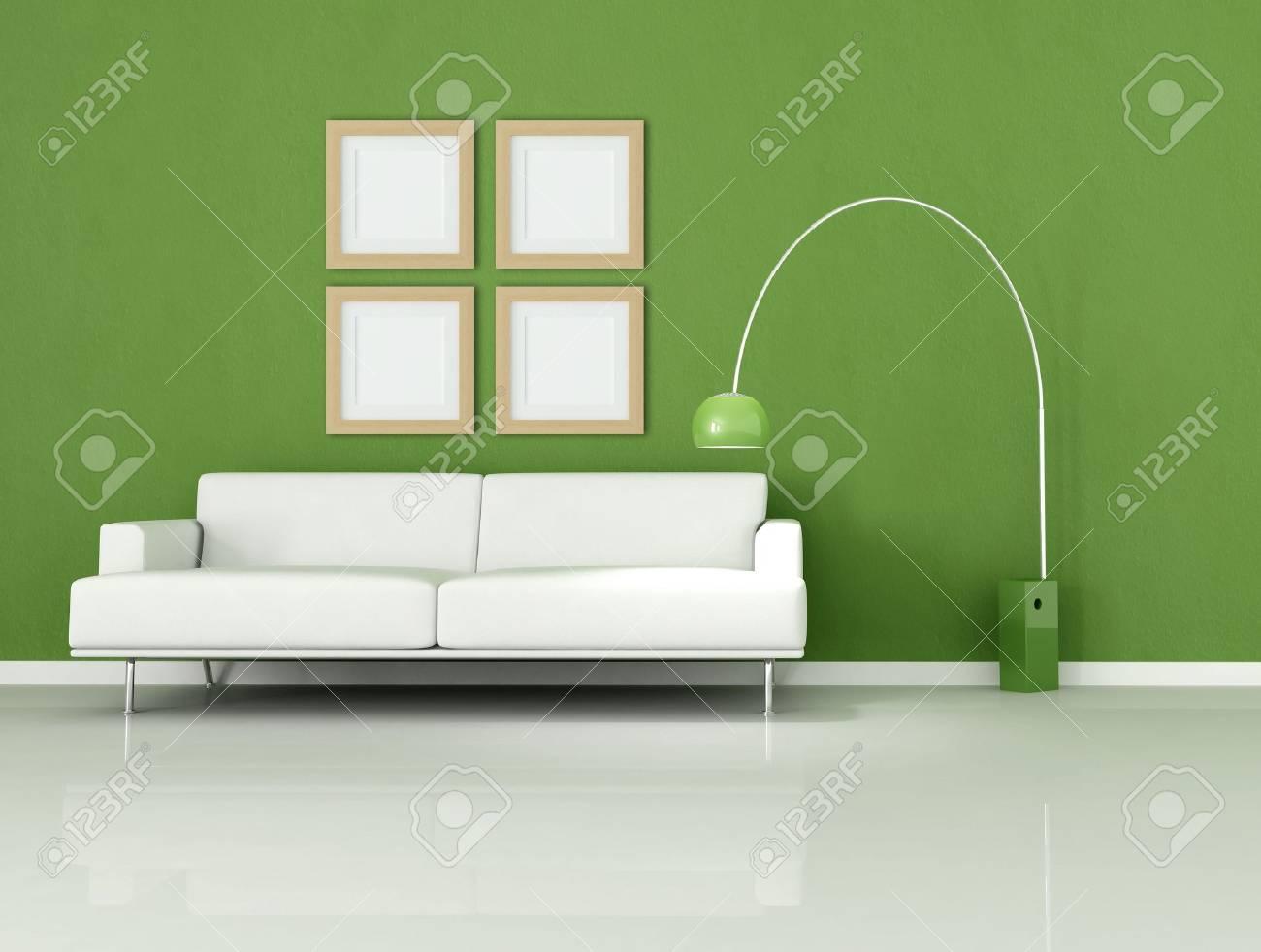 Stock Photo   White Sofa In A Minimal Green Room