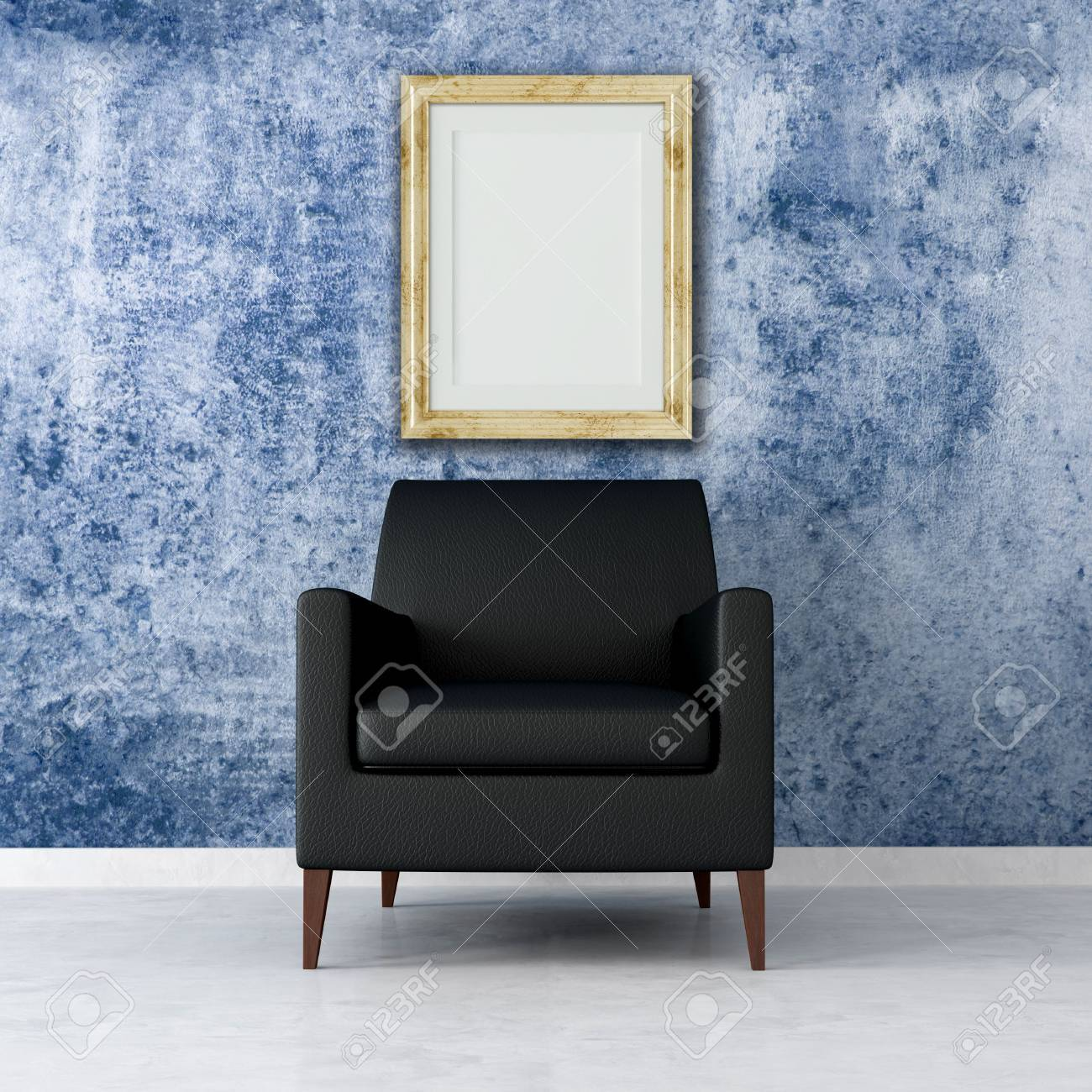 black armchair in a grunge interior with old empty frame -rendering Stock Photo - 5131344
