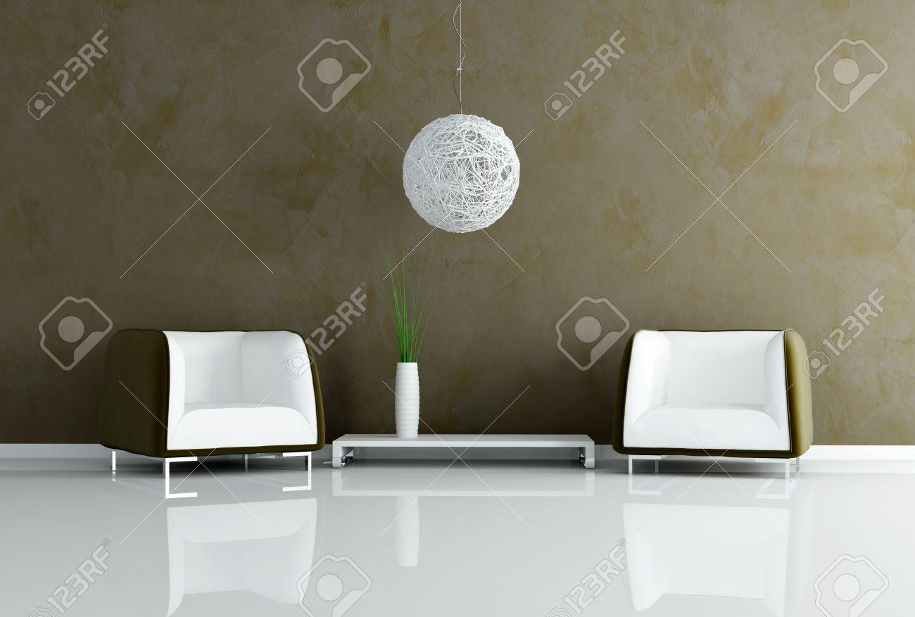 Due poltrone in velluto e lampadari moderni in un salotto foto ...