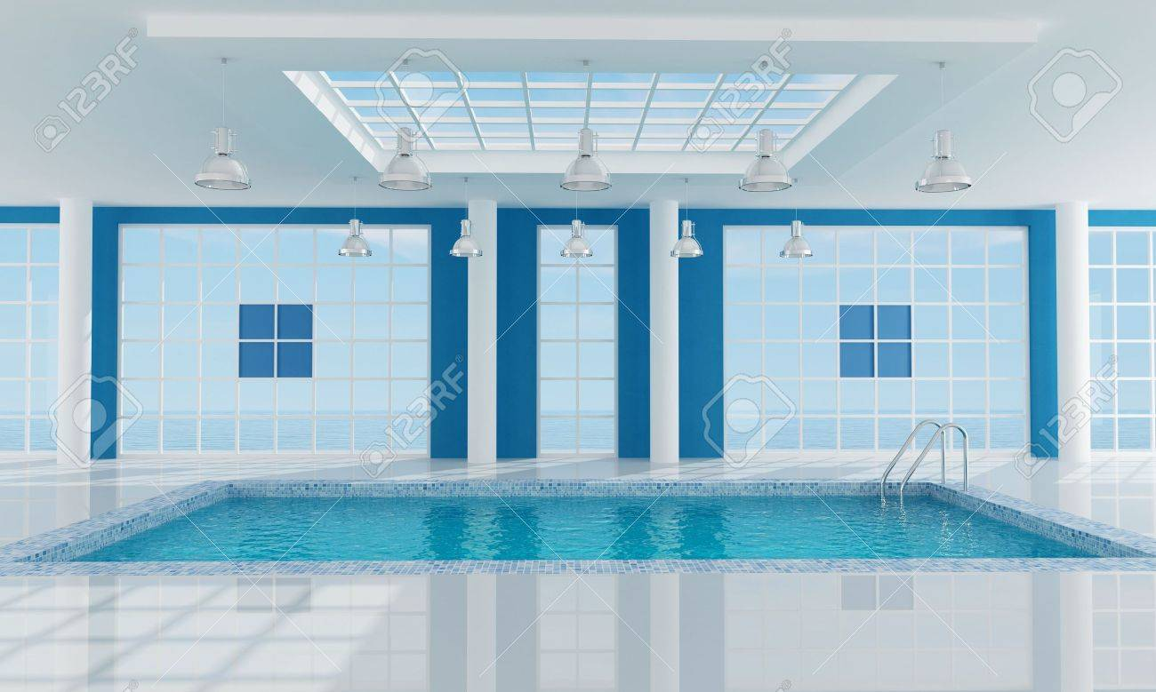 Luxury resort swimming pool near the sea -rendering.the image on background is a my render composition - 5184149