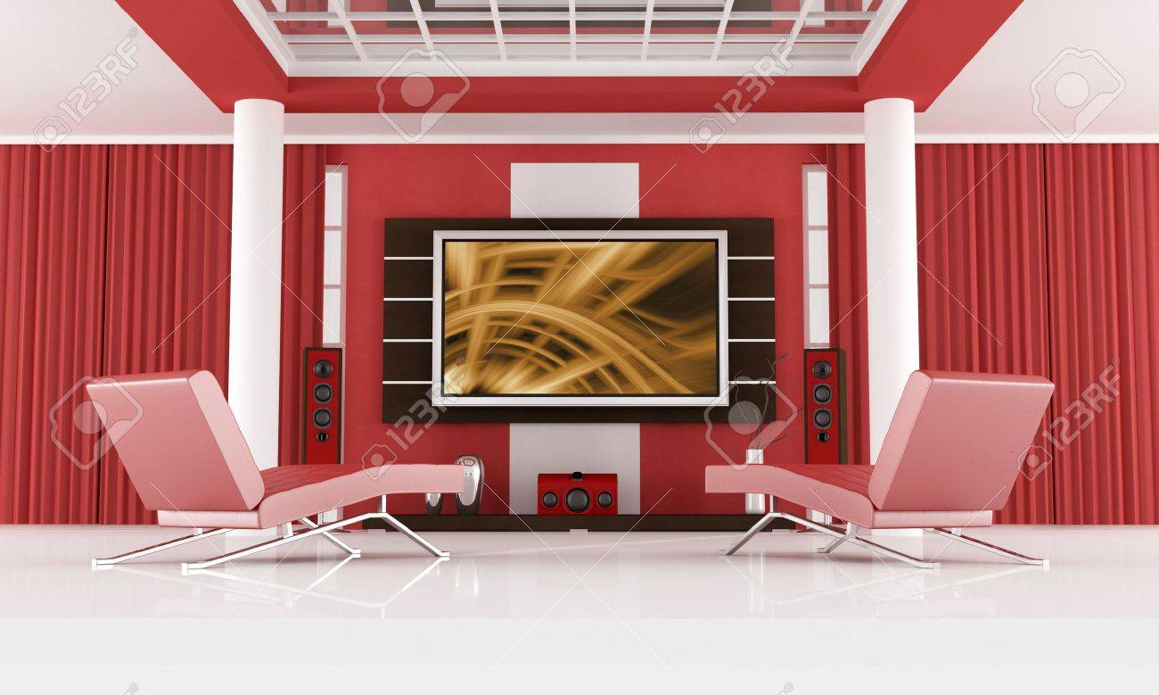red chaise lounge in a modern living room with home theater system the image on