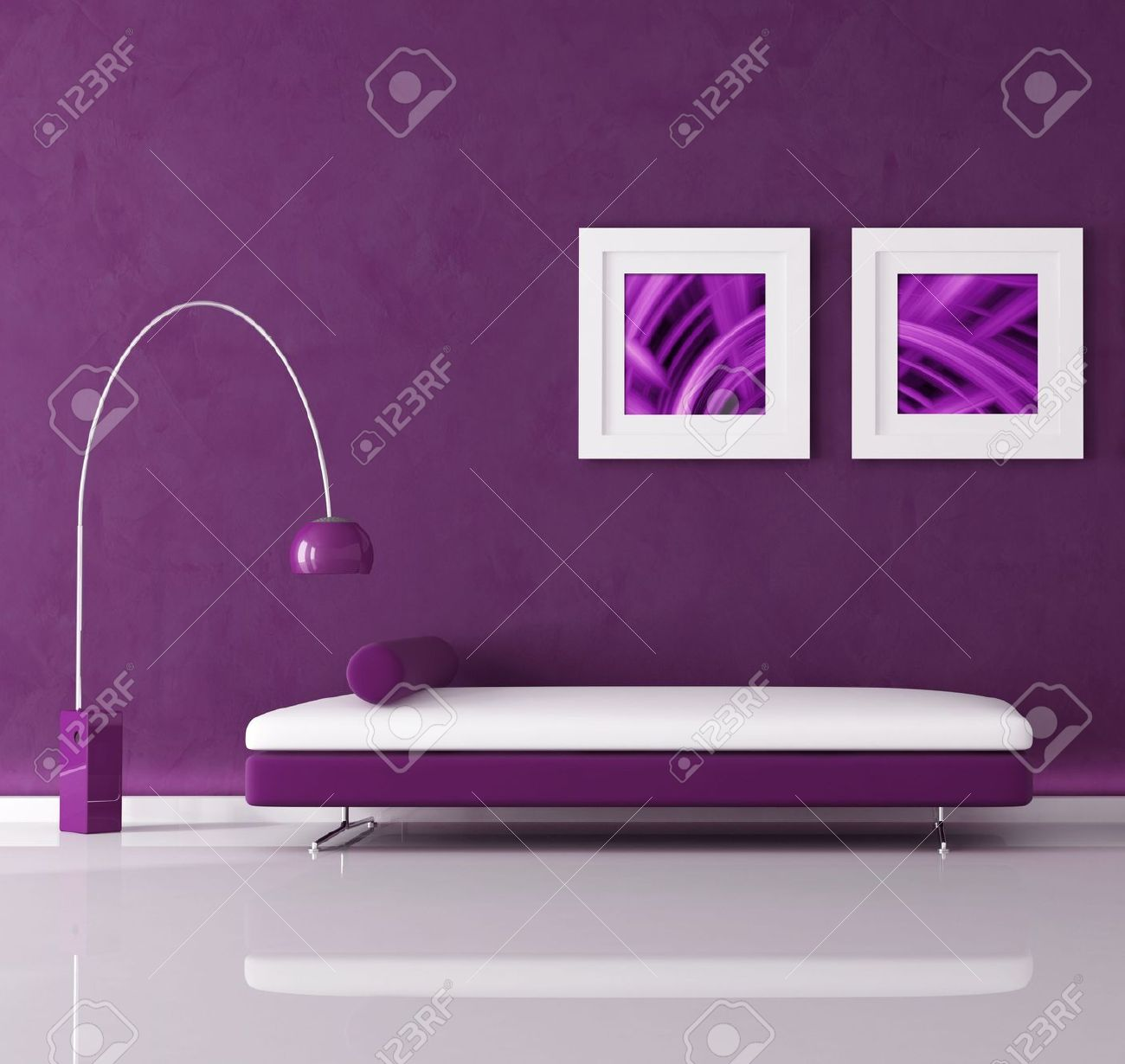 purple minimal interior with velvet sofa and lamp, the image on wall are my abstract composition Stock Photo - 5464342
