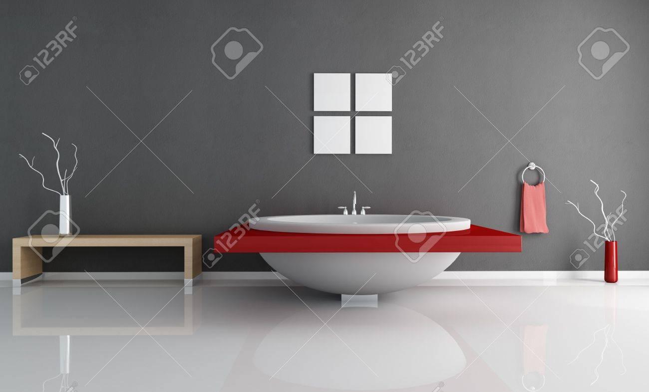 Salle De Bains Moderne Minimale Avec Mode Blanc Et Rouge Arrondir ...