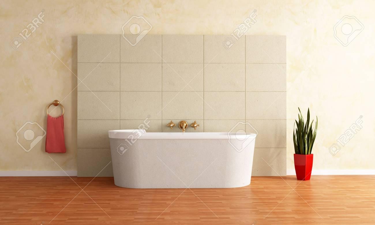 fashion bathtub against sandstone paneling -rendering Stock Photo - 5538224