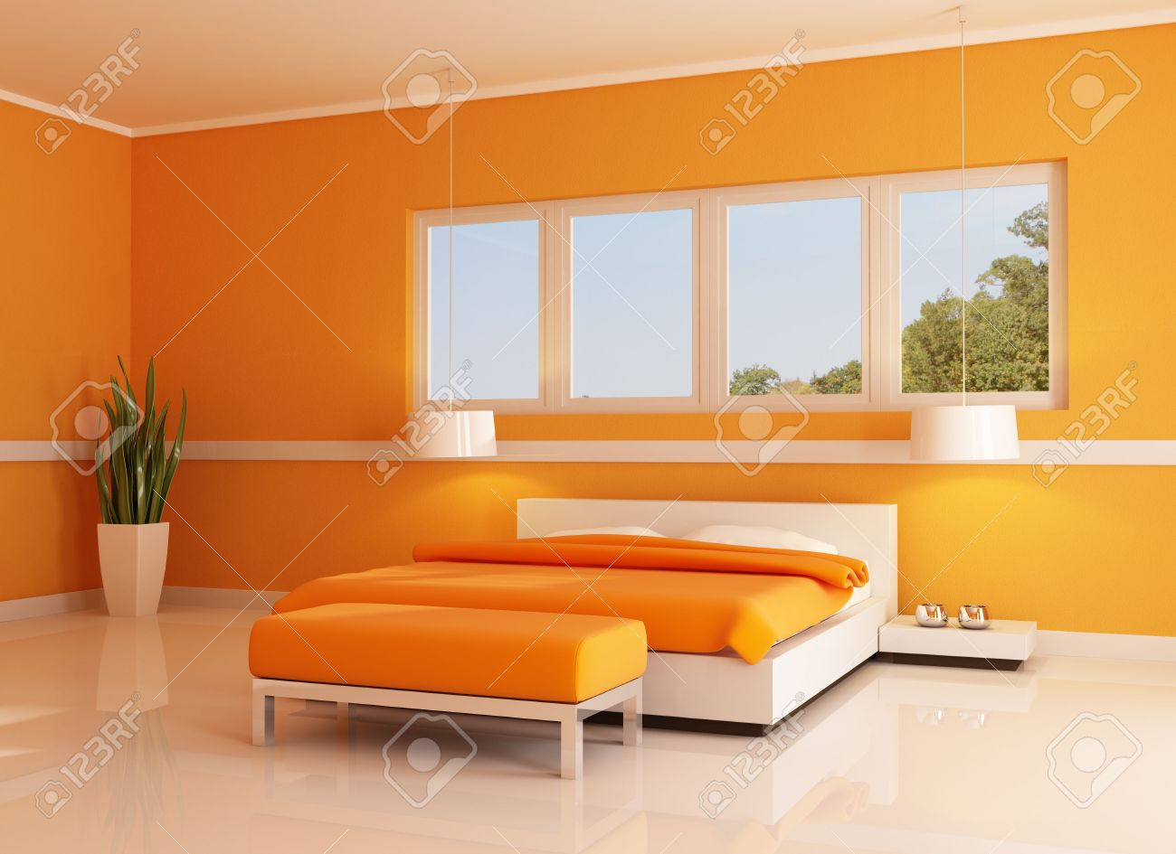 Chambre orange moderne contre la fenêtre blanche - rendu