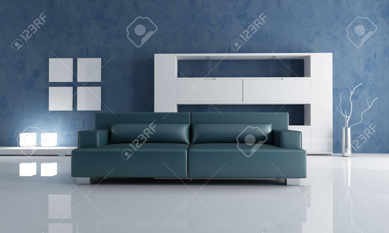 soggiorno moderno con divano blu navy e bianco scaffale vuoto foto ... - Soggiorno Bianco E Blu