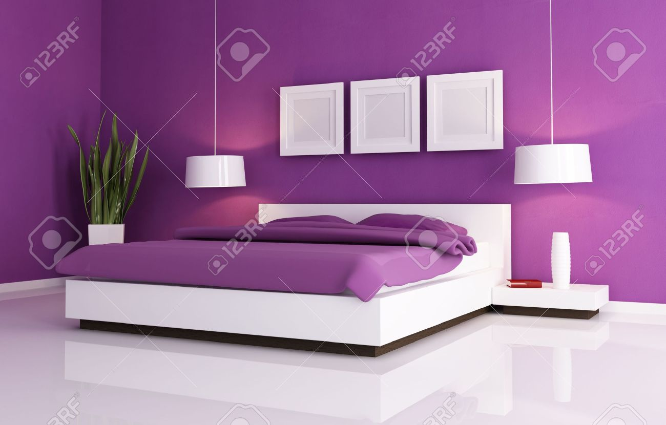 minimal purple bedroom with white double bad