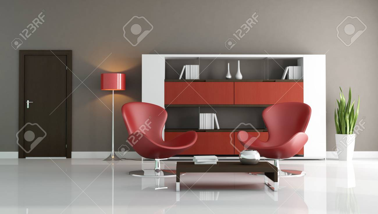 two fashion armchair in a modern living room - rendering Stock Photo - 5694622