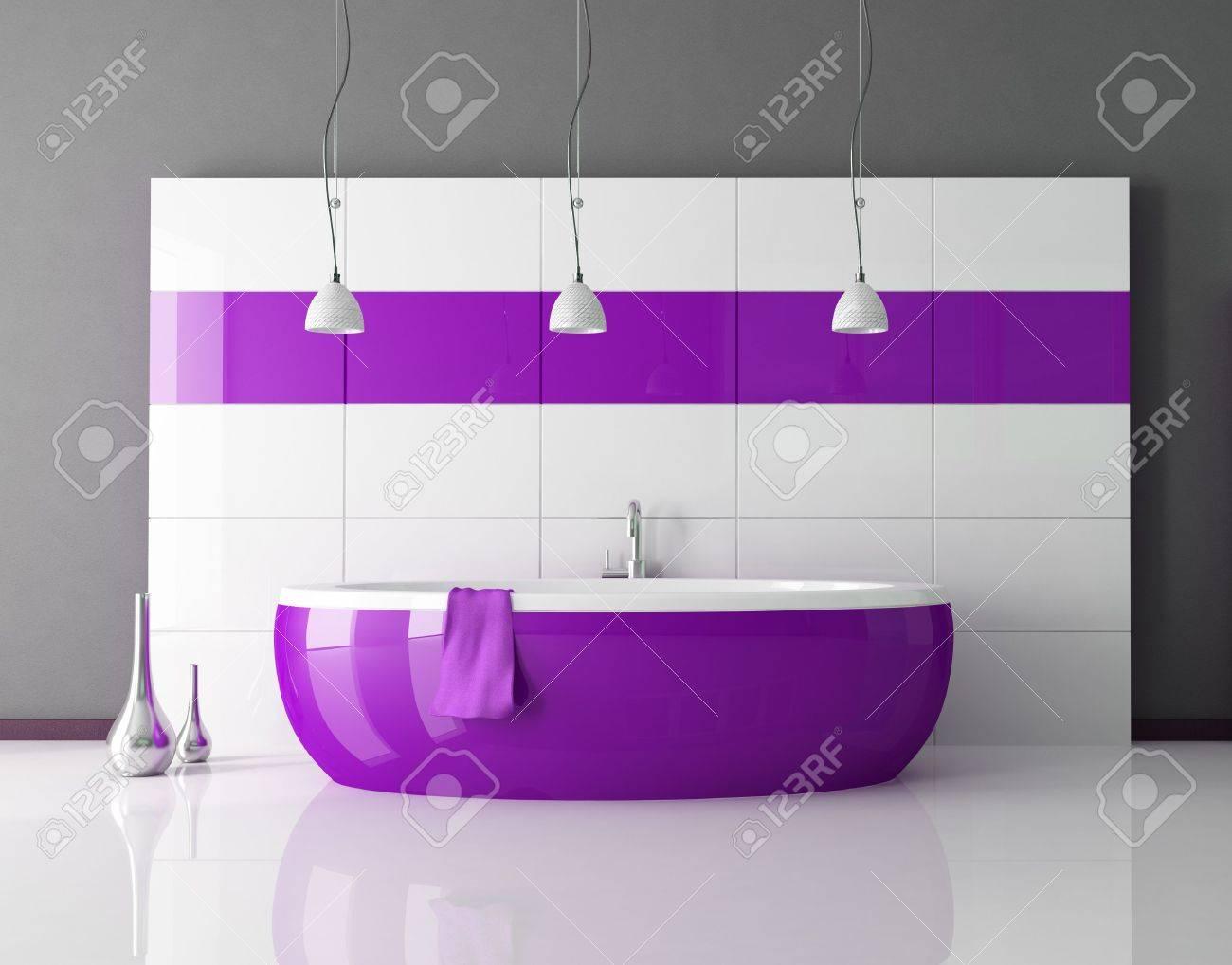 Lila Badewanne In Einem Minimal Contemporary Badezimmer   Rendering  Lizenzfreie Bilder   5694623