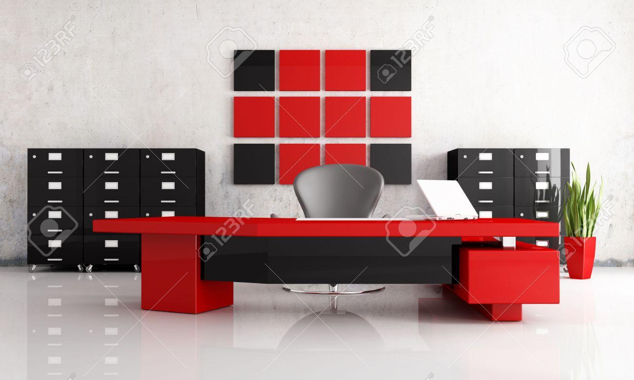 Bureau Moderne Rouge Et Noir - Rendu Banque D\'Images Et Photos ...