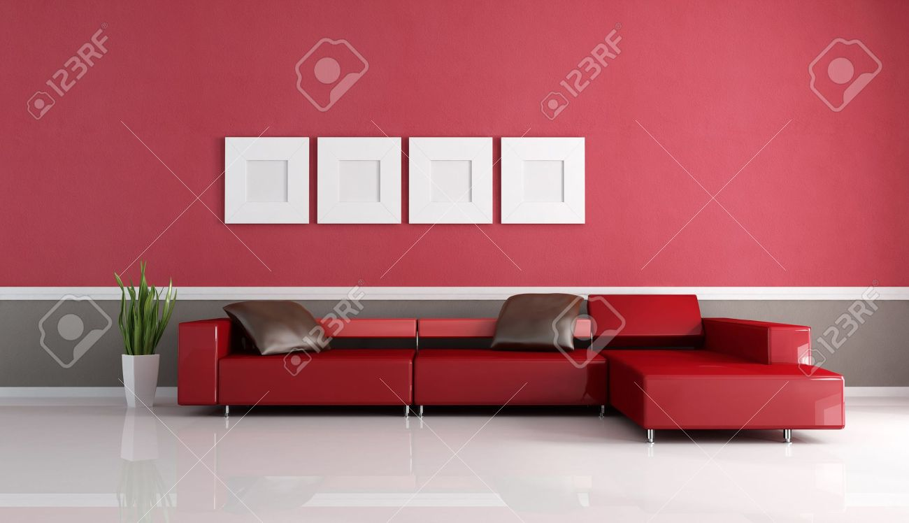 modern couch in a red and brown minimal living room- rendering Stock Photo - 5779505
