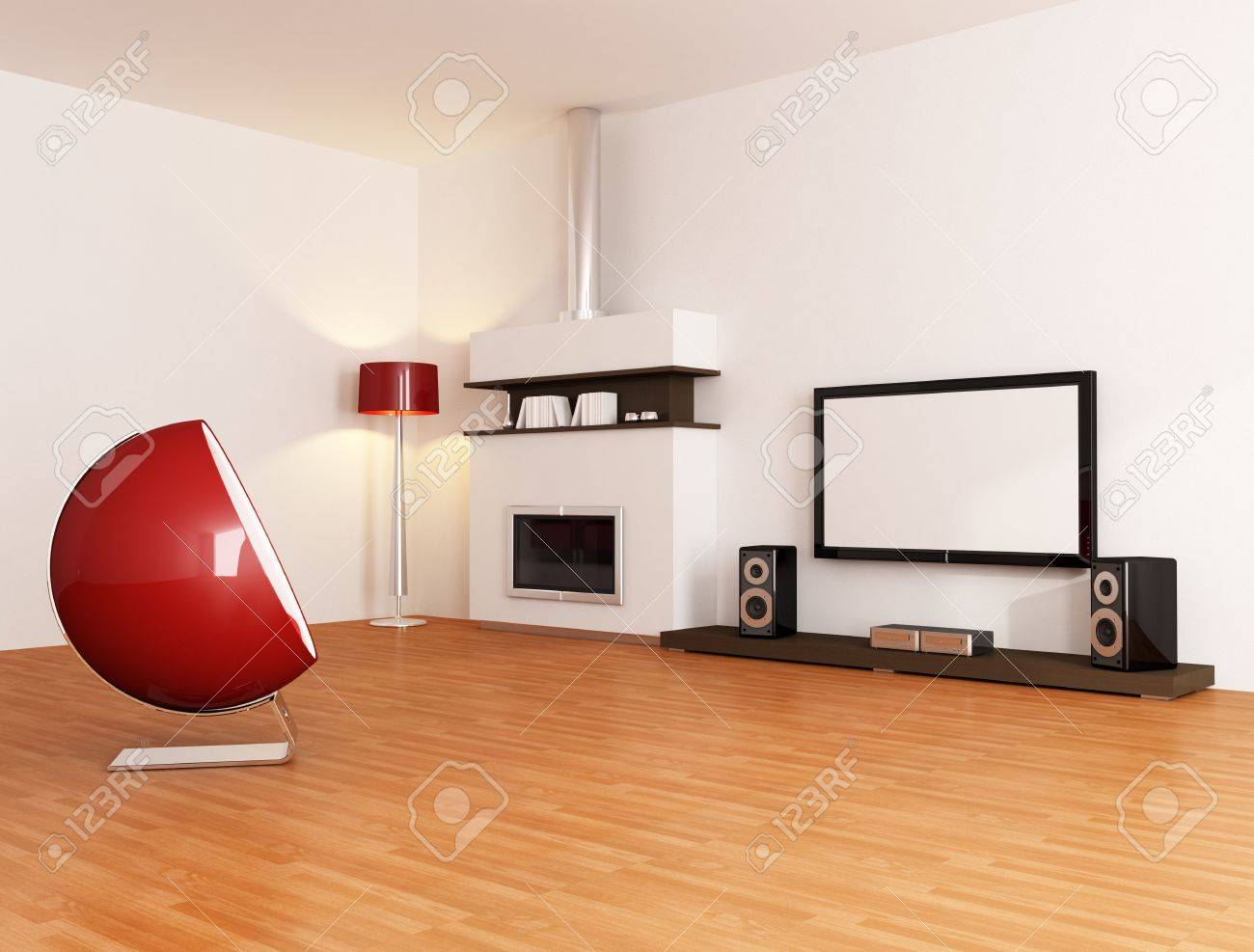 White Minimal Living Room With Fireplace Fashion Armchair And ...