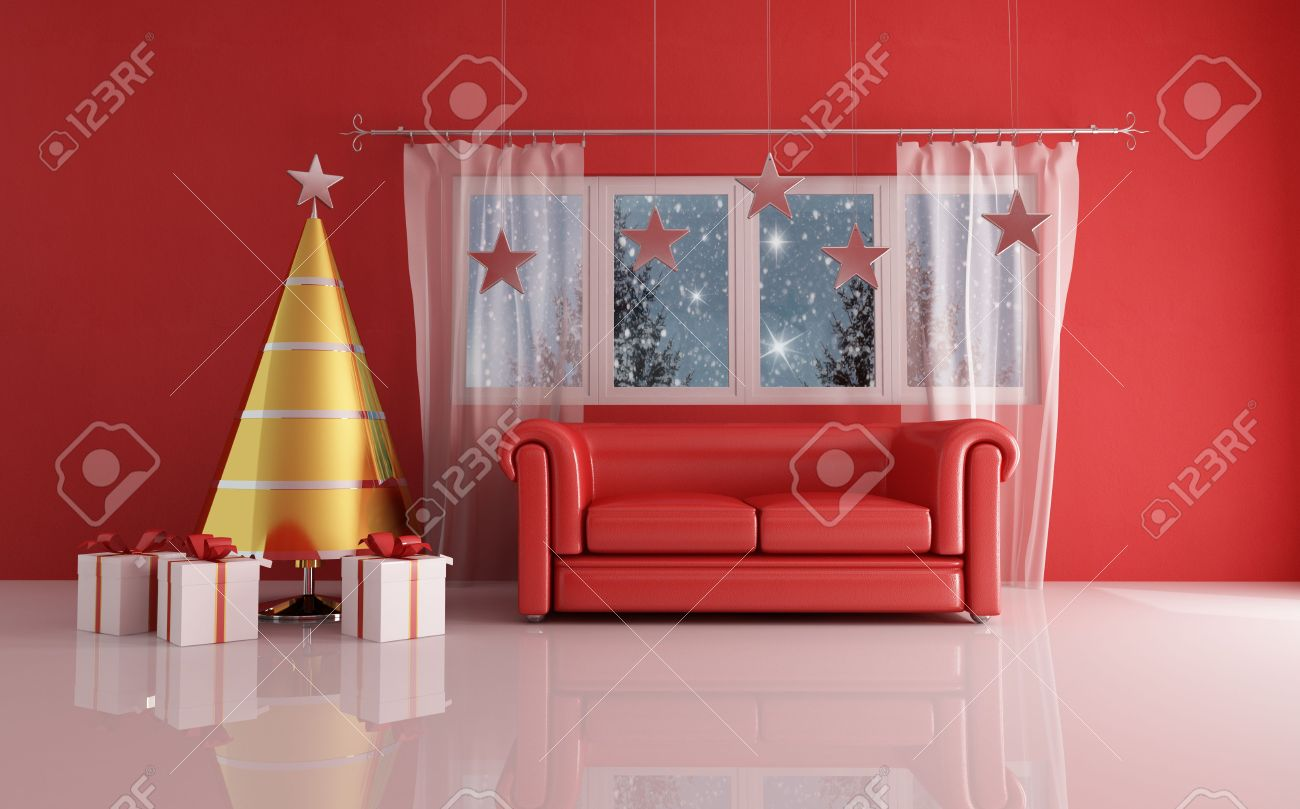 contemporary golden and silver christmas tree in a red living room- the image on background is a my render composition edit with gimp. Stock Photo - 5808083