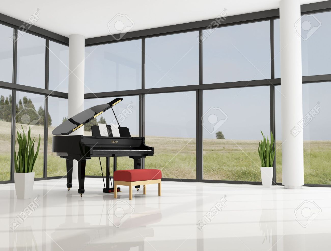 Grand Piano In A Modern Minimalist Living Room Stock Photo, Picture ...