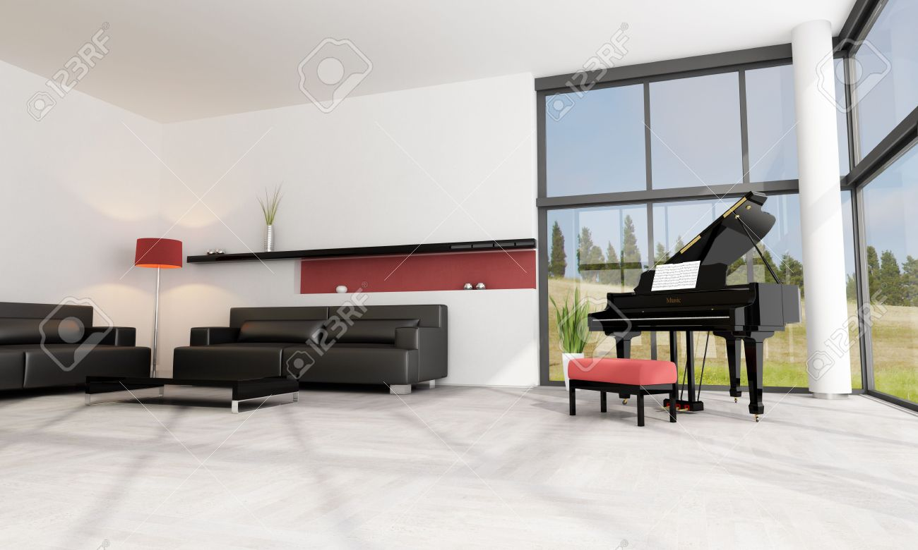 Luxury Living Room With Black Grand Piano Stock Photo, Picture And ...