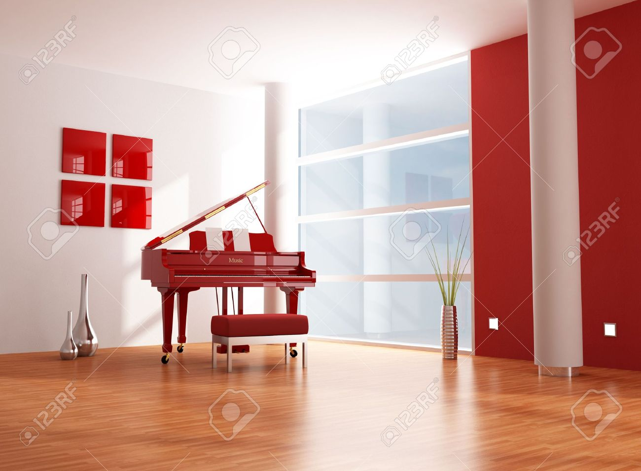 Red Grand Piano In A Minimalist Red And White Living Room Stock Photo    5909483 Part 76