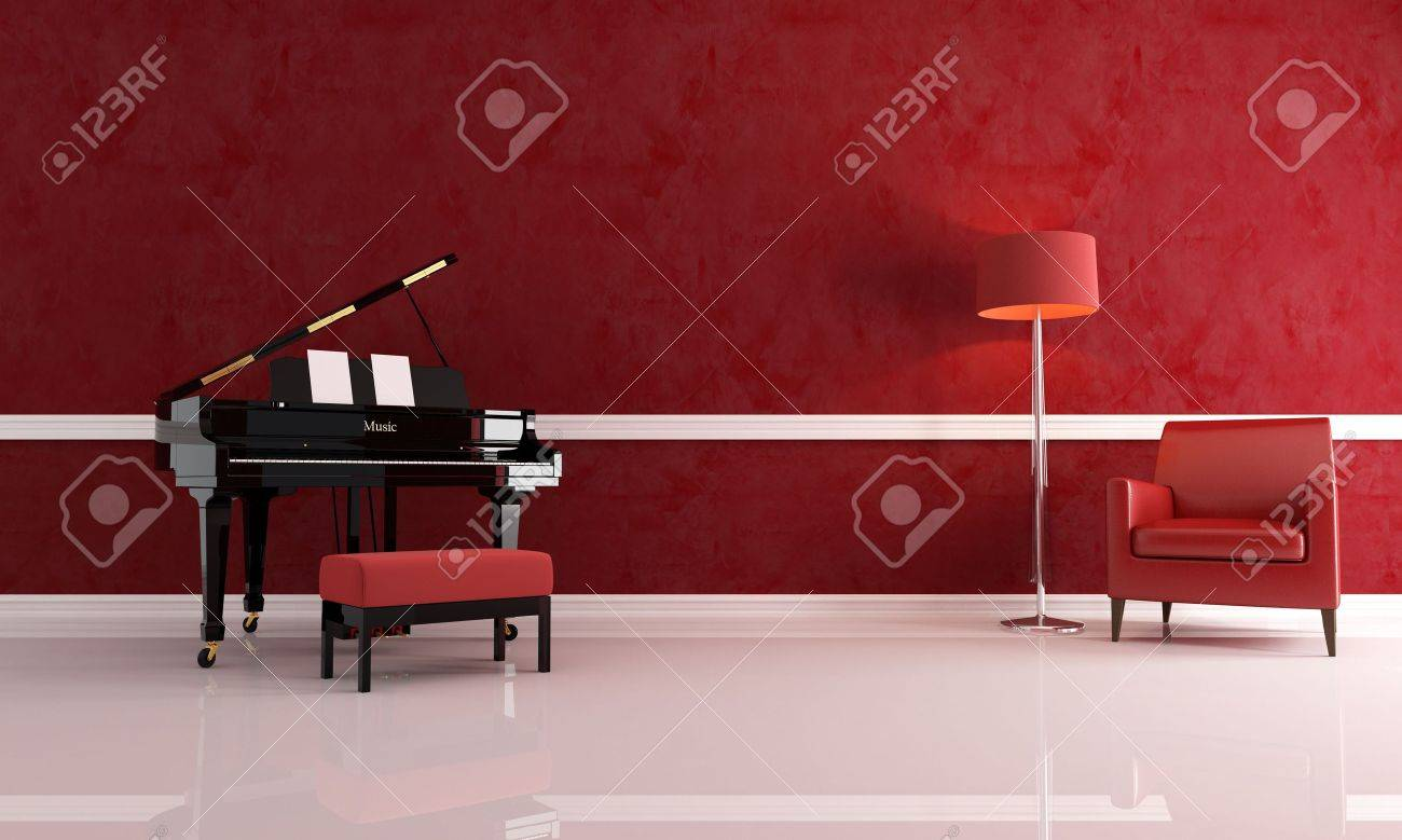 Piano dans un salon rouge avec fauteuil en cuir et moderne ...