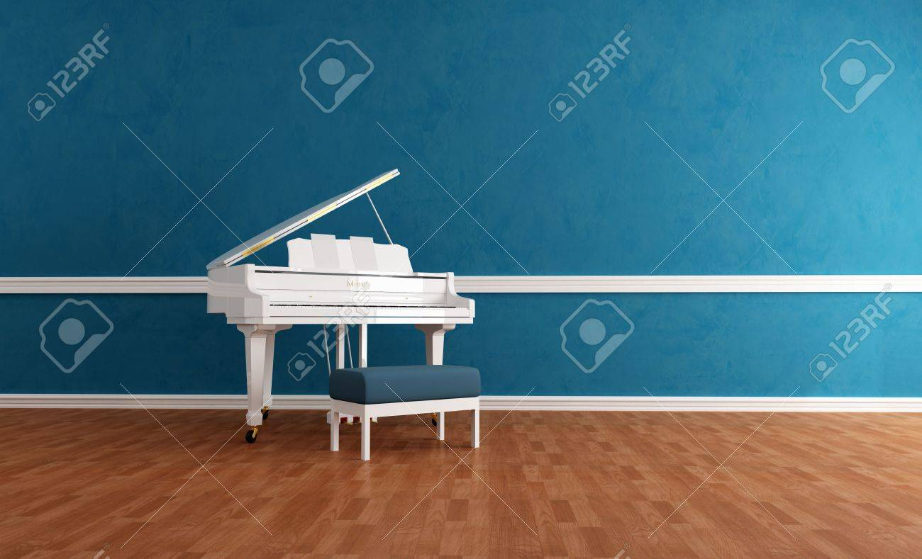 Empty room with chair violin and sheet music on floor photograph - Music Room White Grand Piano In A Blue Room Rendering