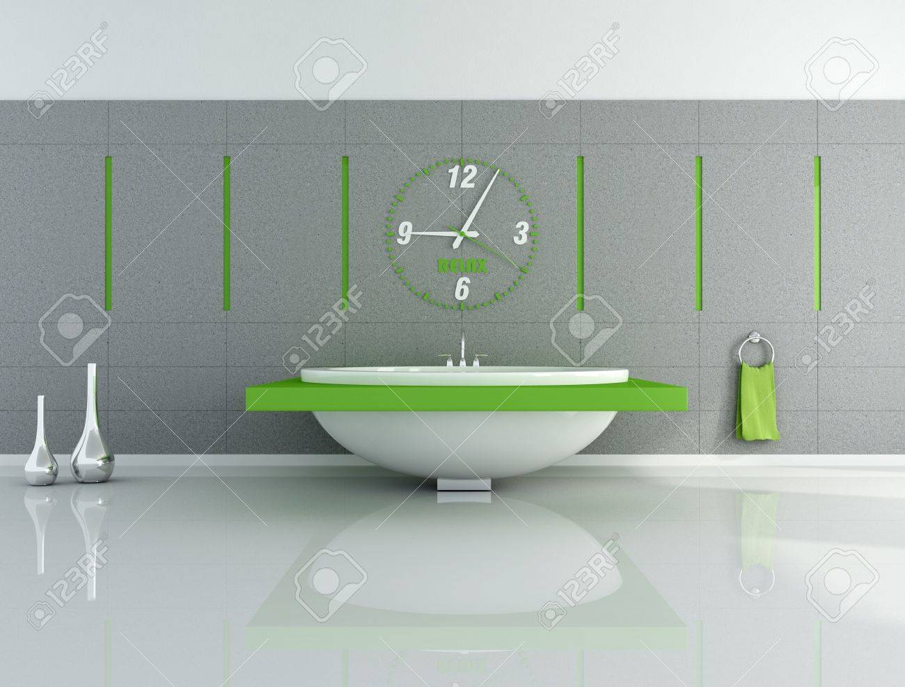 Stock Photo   modern bathroom with big clock and fashion bathtub   rendering. Modern Bathroom With Big Clock And Fashion Bathtub   Rendering