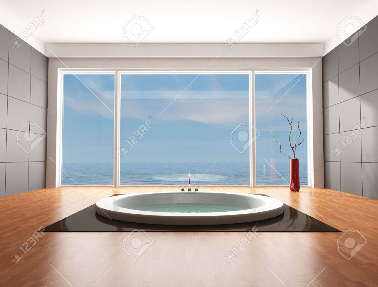 minimalist bathroom with big circular bathtub - rendering - the omage on background is a my rendering composition Stock Photo - 6104182