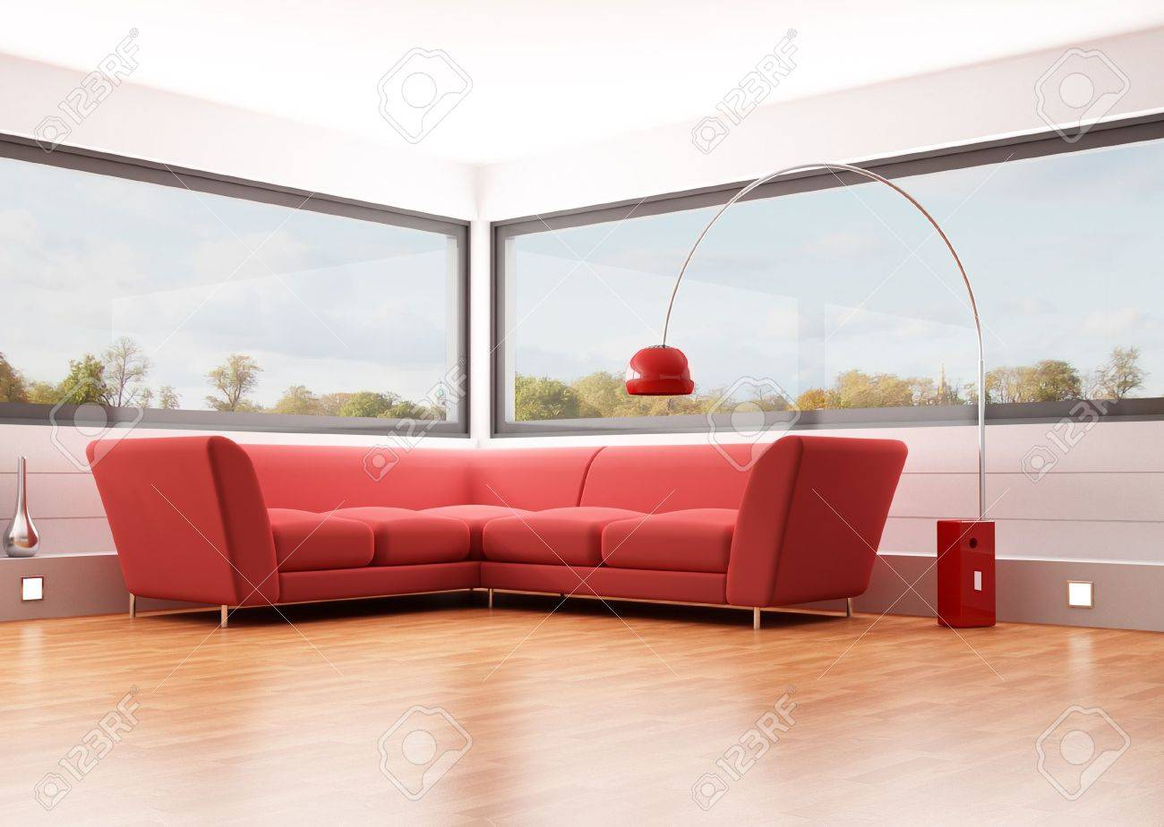 modern living room with red velvet sofa and big windows - rendering..