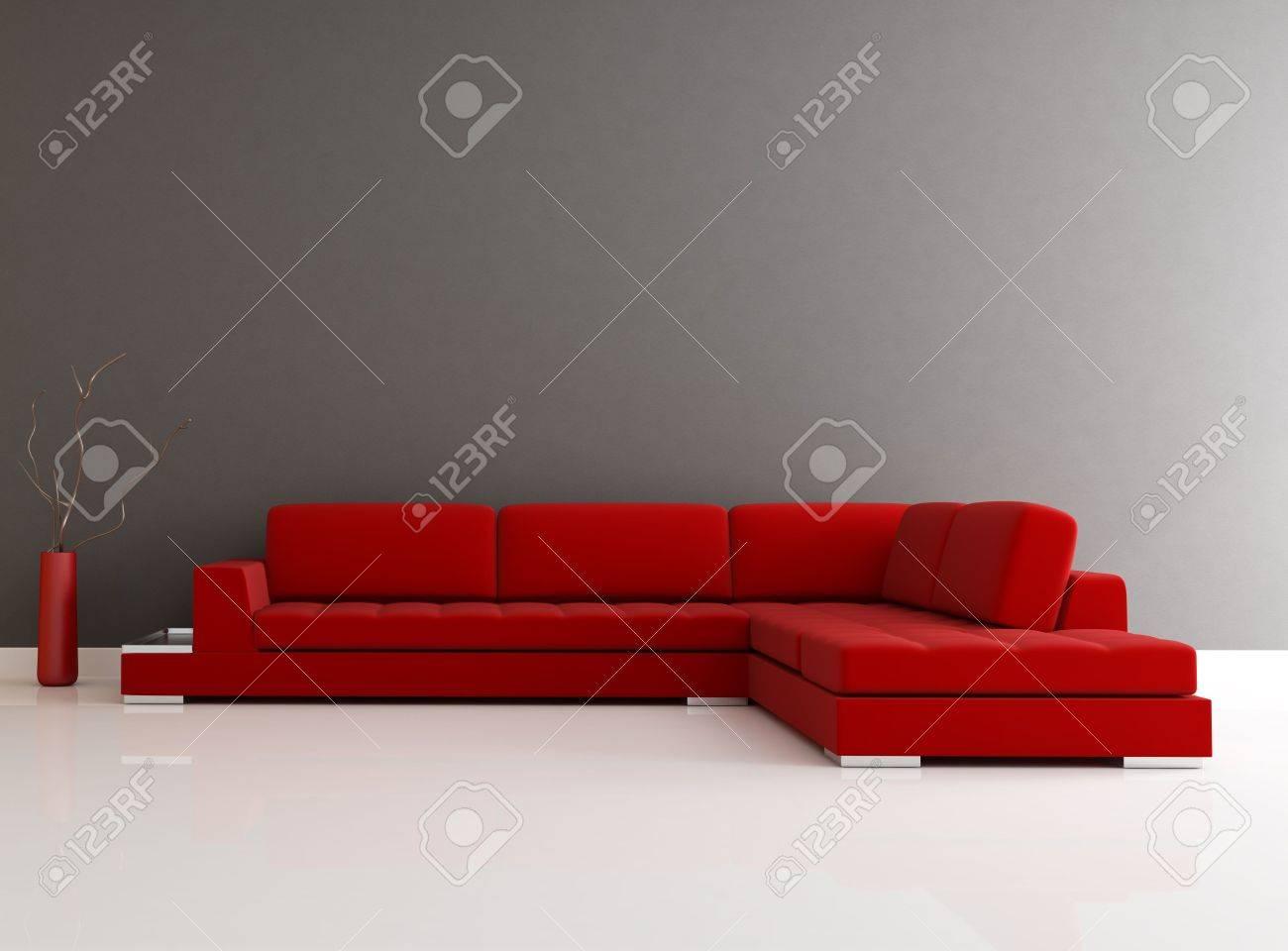Red velvet sofa in a minimalist lounge rendering stock photo 6187158