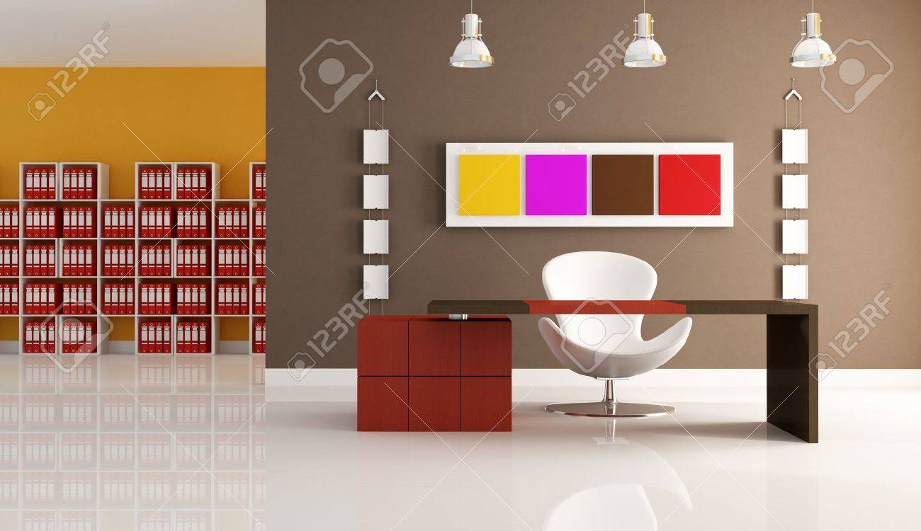 modern office space with empty desk - rendering Stock Photo - 6193335