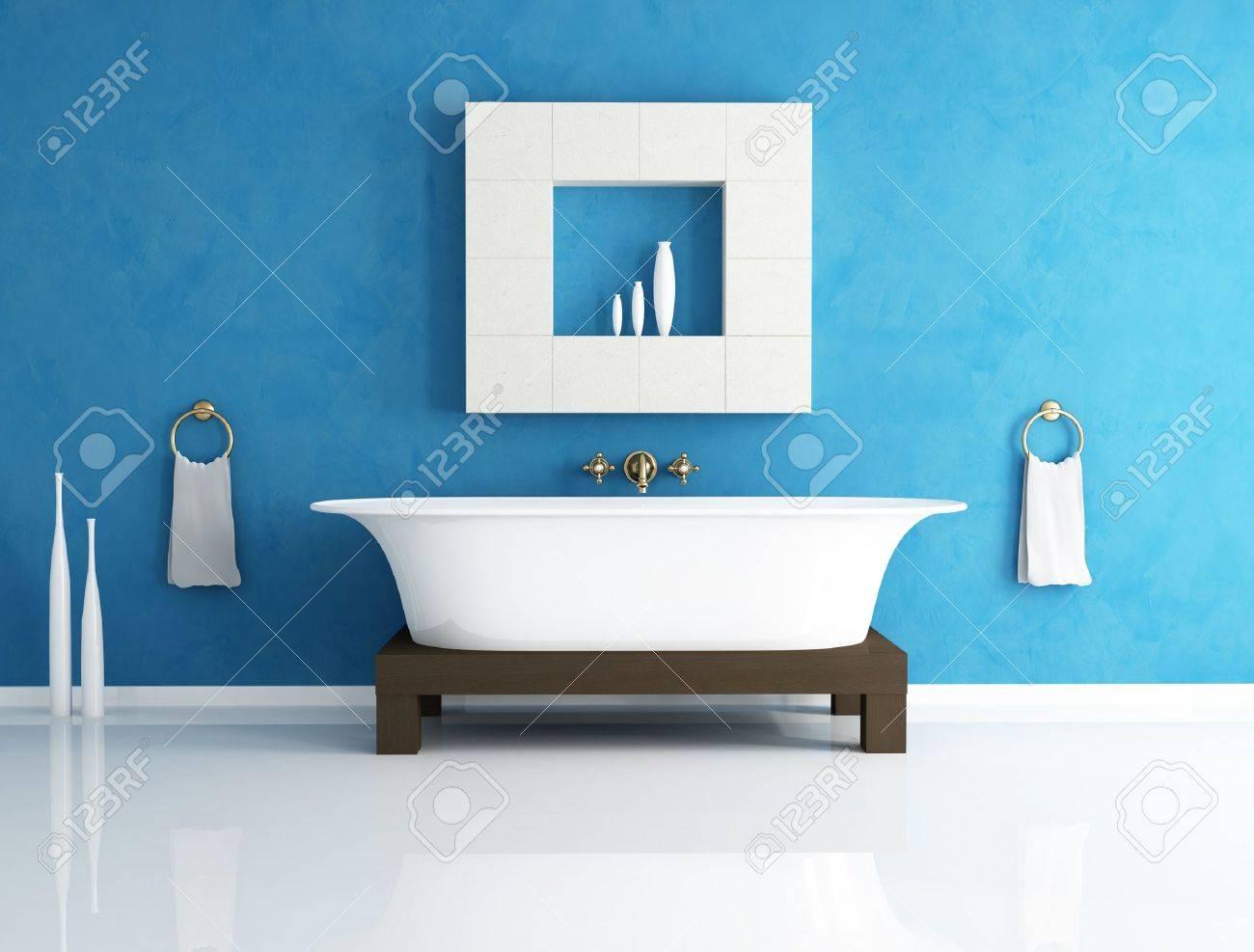 Retro Bathtub In A Modern Blue Bathroom - Rendering Stock Photo ...
