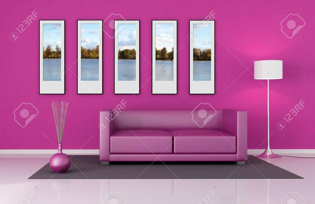 Roze woonkamer met lederen bank en foto frame van de beelden op de ...