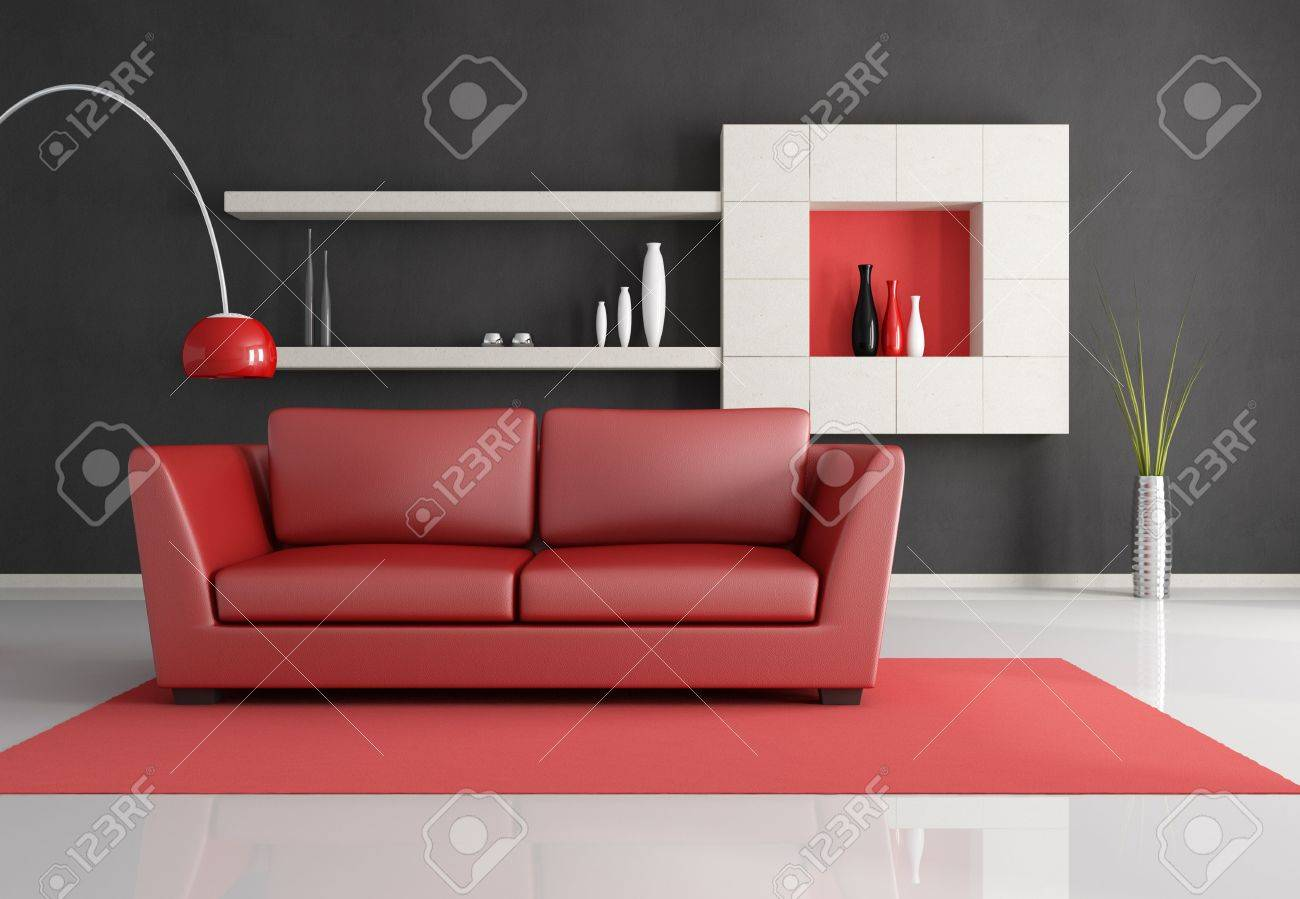 minimalist black white and red lounge - rendering Stock Photo - 6261173