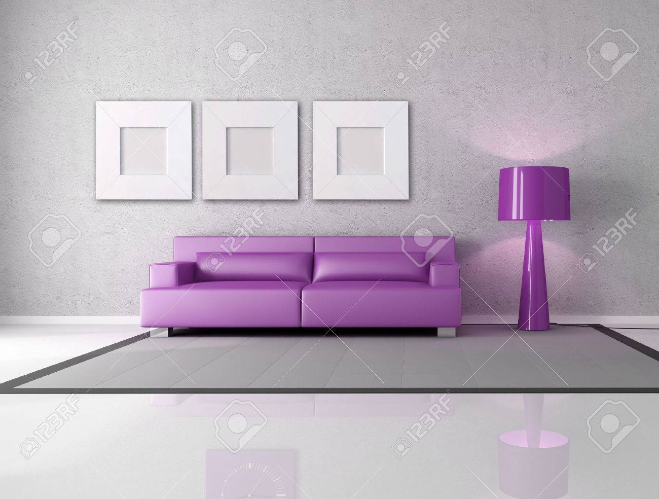 Minimalist Gray And Purple Living Room With Fashion Lamp Stock Photo