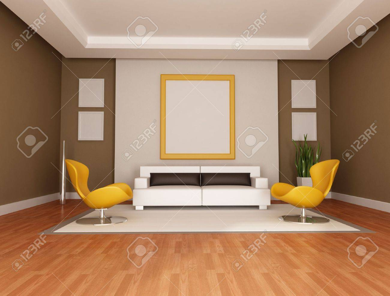 living room with modern couch and two orange armchair - rendering Stock Photo - 6393062
