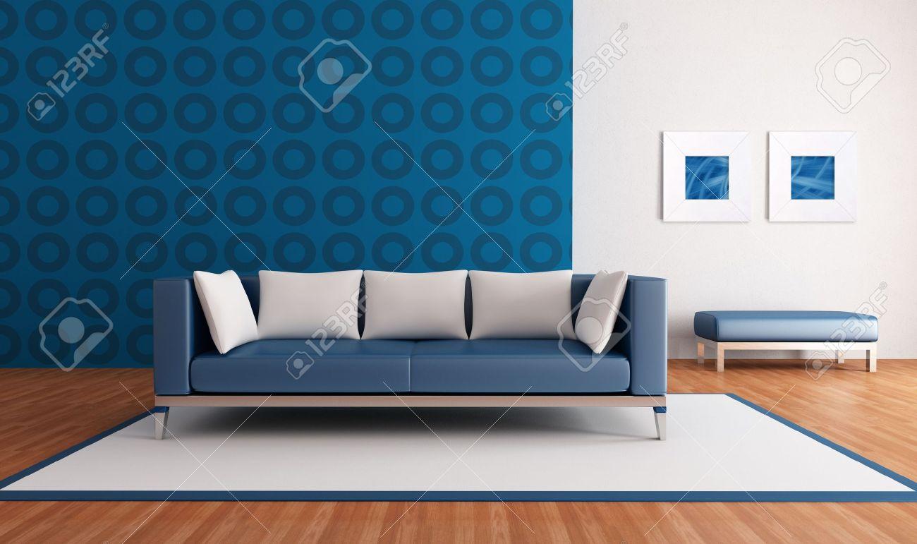 Salon Azul Minimalista Con Sofa Moderno Y Papel Tapiz Geometrica