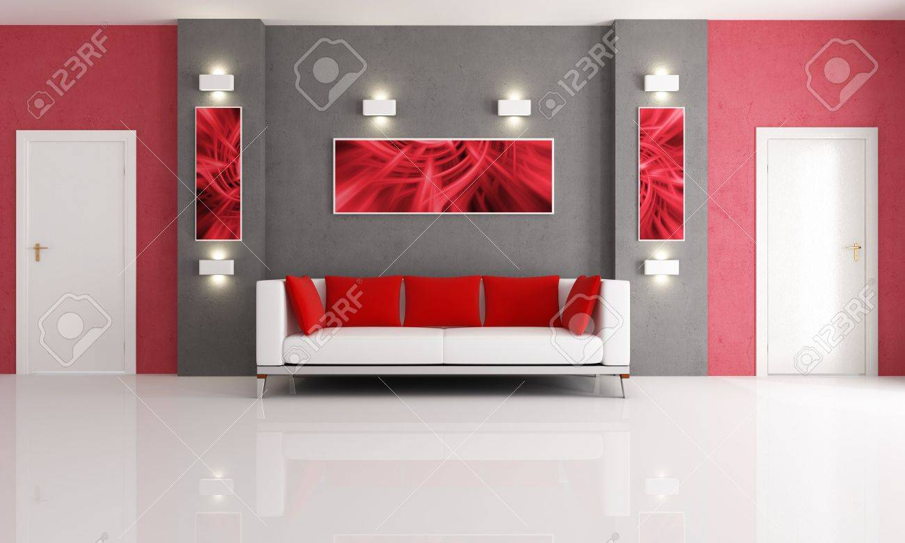 Red And Gray Living Room Modern Couch In A Red And Gray Living Room With Two Door