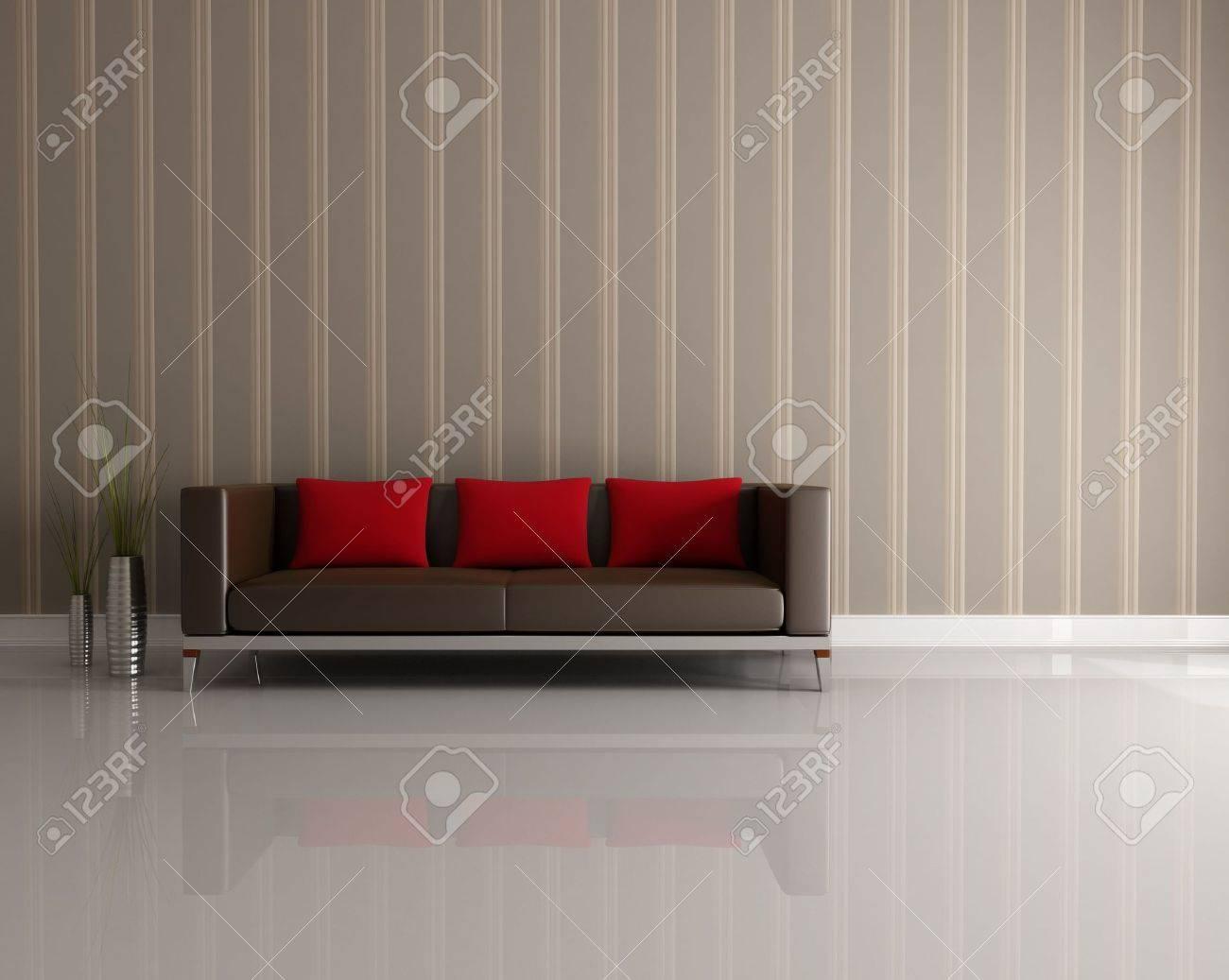 Bruin en rood bank in een modern interieur royalty vrije foto ...