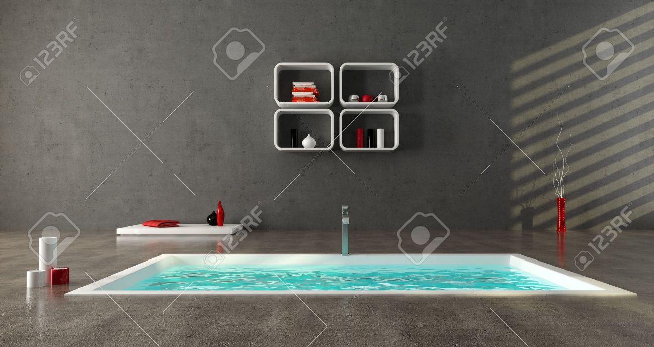 archivio fotografico minimalista bagno con vasca da bagno moda sul pavimento di cemento